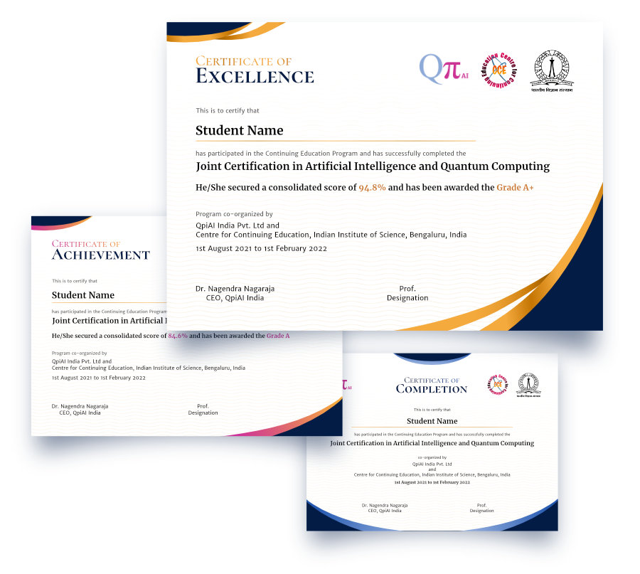 Certification from IISc and QpiAI India on AI and Quantum Learning